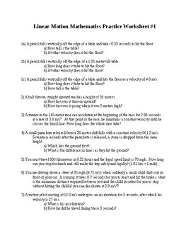 Linear Motion Mathematics Practice Worksheet with Answers (Word)