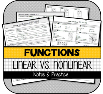 Linear & Nonlinear Functions NOTES & PRACTICE