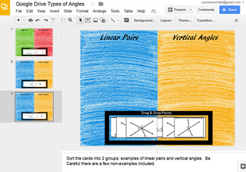 Linear Pair, Adjacent and Vertical Angles Google Drive Interactive Activity