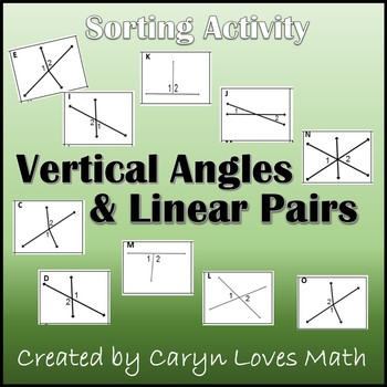 Linear Pairs & Vertical - Sorting Activity - Angles formed by Intersecting Lines