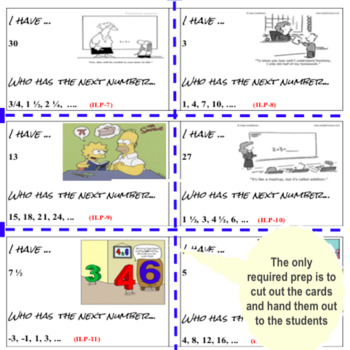 Linear Patterns Game - I have... Who has...