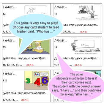 Math Game - I have... Who has... Learning about Linear Patterns