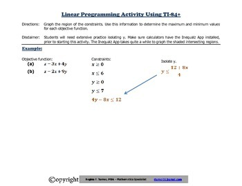Linear Programming Activity
