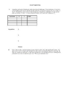 Linear Programming Guided Notes Sheet