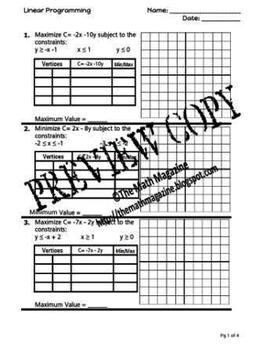 Linear Programming: Maximum & Minimum Values Worksheet NQ.3,  A-CED.3,  A-REI 3