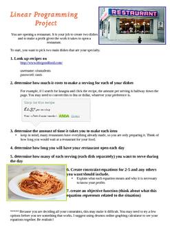 Linear Programming Restaurant Project