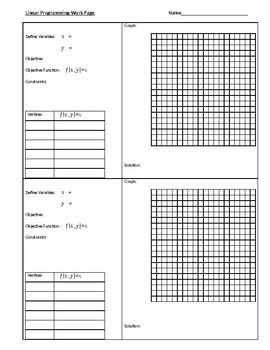 Linear Programming Work Page
