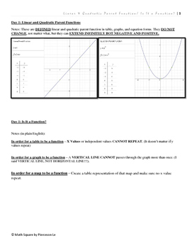 Linear Quadratic Parent Function, Is It a Function