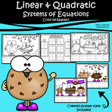 Solving Systems of Linear and Quadratic Equations Color by Number Worksheets