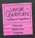 Linear & Quadratic Systems of Equations (Foldable)