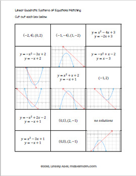 Linear Quadratic Systems of Equations Matching