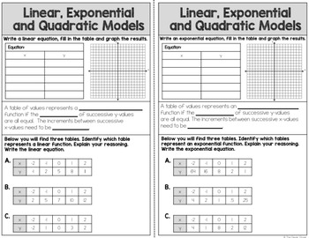 Linear, Quadratic, and Exponential Notes and Worksheet