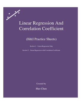 Linear Regression And Correlation Coefficient- H&I Practice Sheets