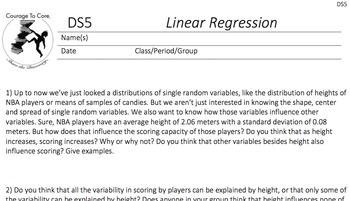 Linear Regression (DS5): HSS.ID.B.6, HSS.ID.C.7, HSS.ID.C.8...