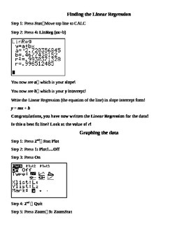 Linear Regression Instructions for Ti Graphing Calculator (83 or higher)