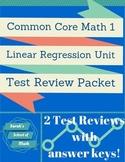 Common Core Math 1: Linear Regression Unit Test Review Packet-2 Reviews!