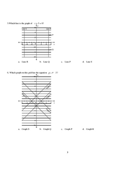 Math 9: Linear Relations Test - Includes Solutions