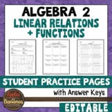 Linear Relations and Functions - Student Practice Pages