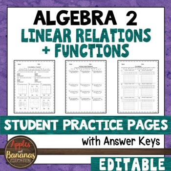 Linear Relations And Functions Student Practice Pages