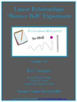 "Linear Relationship ""Bouncy Ball"" Math Experiment (Grades 7-9)"