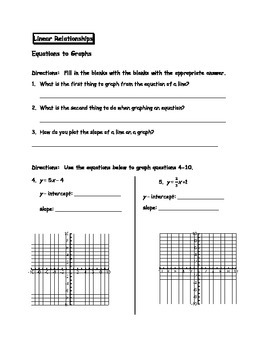 Linear Relationships - Equations to Graphs