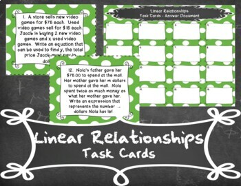 Linear Relationships Task Cards