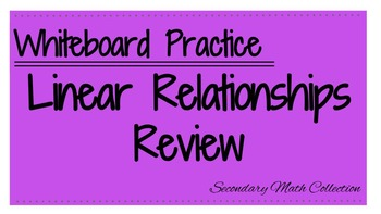 Linear Relationships Whiteboard Review (Identify Slope & Y-intercept and more!)