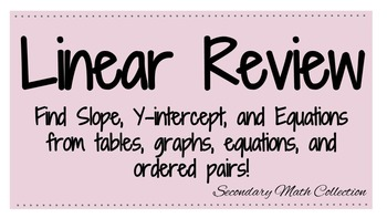 Linear Review Find Slope, Coefficient and Equations from tables, graphs, +more!