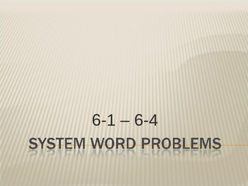 Linear System Word Problems