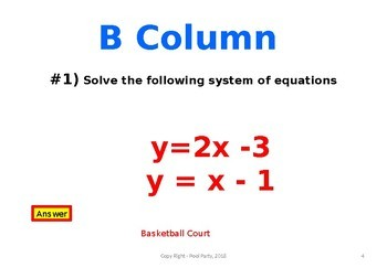 Linear System of Equations MARCH MADNESS Basketball Power Point Game