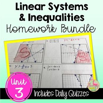 Algebra 2: Linear Systems & Inequalities Homework Bundle