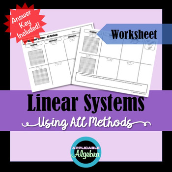 Linear Systems - Solving Using All Methods (Graphing, Substitution, Elimination)