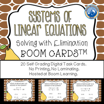 Linear Systems-Solving with Elimination Boom Cards-Digital Task Cards
