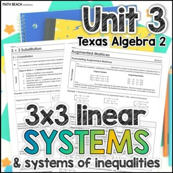 Linear Systems - Unit 3 - Texas Algebra 2
