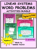 Linear Systems Word Problems Activities Bundle