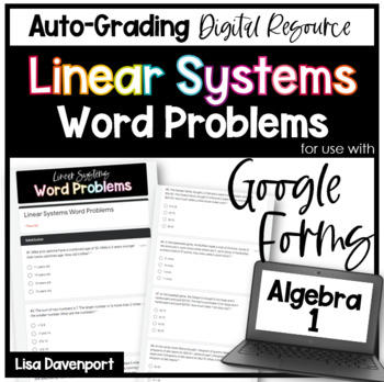 Linear Systems Word Problems (Google Forms/ Quizzes)