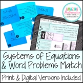 Systems of Equations Word Problem Matching Cards