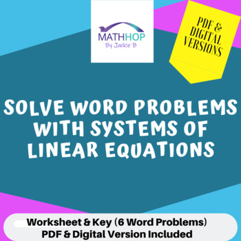 Linear Systems of Equations Word Problems