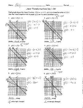 Linear Transformations Day 1 Classwork ANSWER KEY