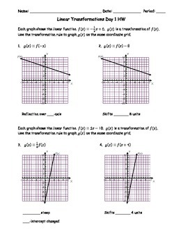 Linear Transformations Day 1 Homework