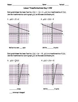 Linear Transformations Day 1 Homework