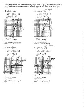 Linear Transformations Day 1 NOTES ANSWER KEY