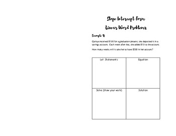 Linear Word Problem Booklet for INB