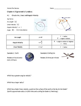 Linear and Angular Velocity