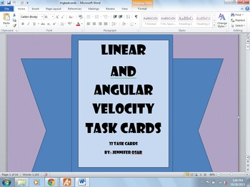 Linear and Angular Velocity Trig Task Cards