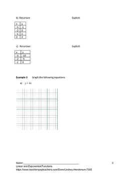 Linear and Exponential Functions Lesson 2 of 10