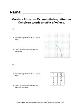 Linear and Exponential Functions Lesson 2 of 6 Explicit Equations