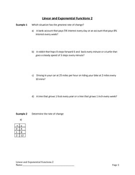 Linear and Exponential Functions Lesson 2 of 9