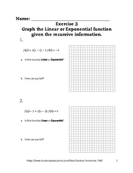Linear and Exponential Functions Lesson 3 of 6 Recursive Functions