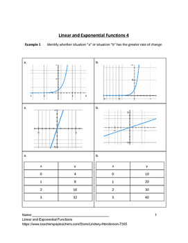 Linear and Exponential Functions Lesson 4 of 10